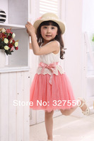 11.11 Promotion !2014  summer Baby Girls Toddler Kids dress Princess Party Bowknot Belt Cotton Lace Formal girls' Dress GQ-361