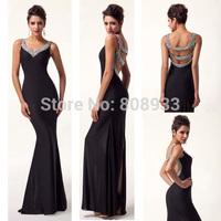 2014 Grace Karin Long Sexy Backless Deep V Sheath Mermaid Party Prom Evening Dress Black,Red,Purple,Blue,Pink,Green CL6061
