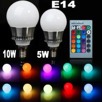 Newest 5W/10W E14 LED RGB Bulb AC85~265V 32 COLORS LED Bulb Light Spot Light LED Lamp + Romote Controller
