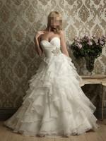 2015 Bra Princess Wedding dress white organza ball  beaded gowns