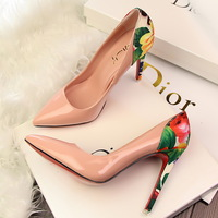 Free shipping new 2014 fashion thin heels high-heels sexy shallow mouth pointed toe color block decoration flower single shoes