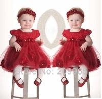 Red 3D Rose Flower Infant Dress Headband Baby Girl Tutu for Birthday Wedding Party 2014 Children Clothes Vestido Bebe Clothing