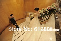 Tailor Made White Tull A-Line Sweetheart 2014 Long Sleeve Bridal Gowns Pearls Beading Sheer Back Court Train Wedding Dress