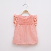 2014 Summer girls's O-neck fold princess shirt ruffles sleeve cute white tops