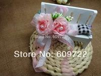 New  Prom Handmade Boutonniere Wedding Decoration Fabric Artificial  Rose camellia Wrist Corsage Flowers Pink Bracelet FL1344