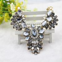 #624 Free Shipping Fashion Exaggerated Acrylic Crystal Chocker Neckale, Best-selling Short Necklace women