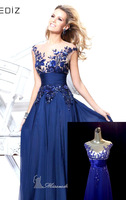 Elegant Royal Blue A-line Scoop Empire Floor-length Wedding Party Evening Dress Abendkleider With Appliques