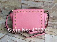 Michaels women handbags Smiling face rivet  Bags leather Handbag tote purse luggage  genuine leather