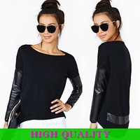 2014 Spring Summder Autumn New Women's Pullover O-Neck Full Sleeve PU Leather Sleeve Ladies's T-Shirt Shirt Blouse In Stock