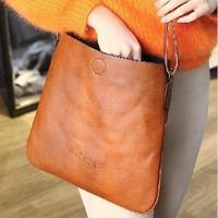 Brief style pu leather women messenger bag vintage shoulder bag 3 solid color black brown wine