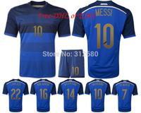 Free DHL/EMS 2014 away babe blue  MESSI KUN AGUERO LAVEZZI  MARADONA embroidery quality soccer jersey sets (shirts + shorts)