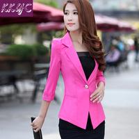 blazer women slim blazer outerwear spring and summer 2015 blazer female candy color three quarter sleeve free shipping 15