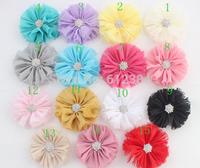 Chiffon fllowers for headband Vintage Chiffon Shabby Look Flowers with Rhinestone head made Hair Accessories 50PCS