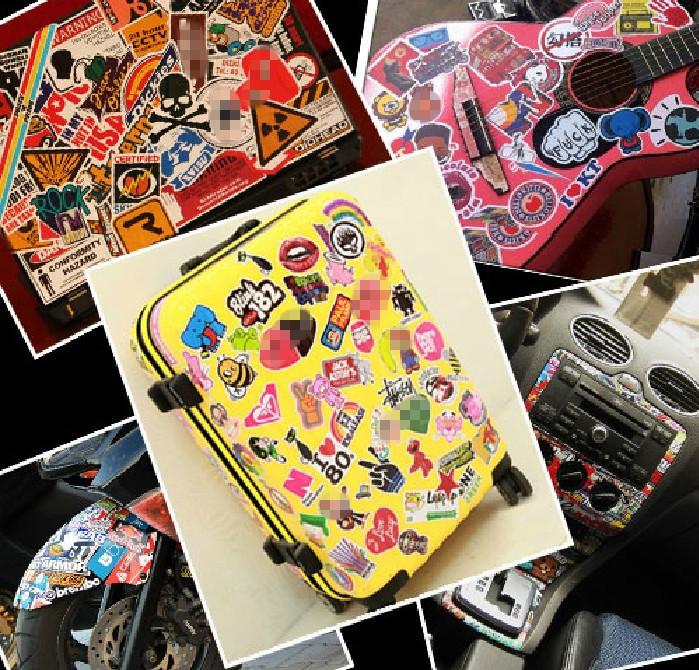 8sheets=100pcs Artikel wählen 5-8cm glänzenden film mini auto schlüsselanhänger laptop aufkleber gepäck personalisierte gitarre fahrrad aufkleber