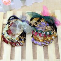 6 pieces/lot fashion crystal elastic band for women hair accessories lace bow hair band girls head hoop headwear