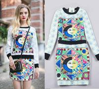 8532 2014 spring and summer fashion women's print o-neck sweatshirt short skirt bust skirt set