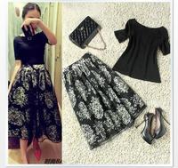 3378 organza bust skirt elegant full print skirt fashionable casual women's set skirt twinset crop top and skirt