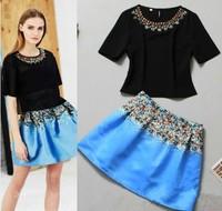 3121 2014 star gem handmade o-neck short-sleeve top blue print bust skirt set