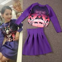 2013 fashion head portrait print gradient cardigan twinset 6317 bust skirt
