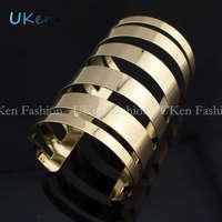 Designer Elegent Gold and Silver Color Alloy Wide Cuff Bracelets & Bangles Women Costume Jewelry Fashion Accessories BL081