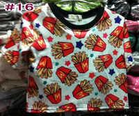 LZ 2014 new style summer stree Fashion london harajuku Mcdonald's chips print cross short design Tee shirt cheap crop tops