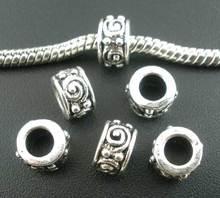 hot - 50 pz argento antico swirl occhi perline distanziatori tubo misura europea di fascino 8 x 5 mm ( b02815 )(China (Mainland))