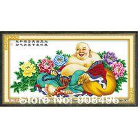 New 2014 Handmade cross-stitch finished products painting laughing buddha maitreya handmade embroidery finished cross stitch