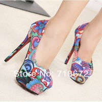 2014 new, women, high heels, sexy, European style, Symphony cloth, stiletto shoes,   Pumps  free shipping