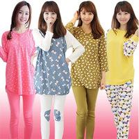 autumn winter women's pajamas set women cotton clothing set,sweet female lady twinset nightwear sleepwear Pijama Feminino