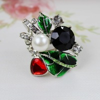2014 high quantify best-selling fashion accessories fashion leaves flower delicate romantic pearl ring ct-6 new arrival