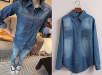 Free shipping New2014 Fashion Slim Waist Denim Shirt Full sleeve Jean Blouse For Women Nice Rivet on front pocket