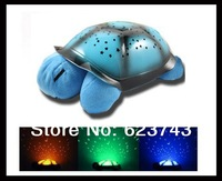 Free shipping 1 UNIT WITHOUT RETAIL BOX Turtle Night Light Stars Constellation Lamp Children Music Lights Mini Projector 4 Songs