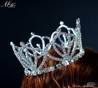 Princess Small Full Circle Round Crown Austrian Rhinestone Tiara for Pageant Prom Bridal Wedding Fashion Jewelry
