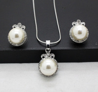new arrival fashion pearl jewelry sets wholesale clear crystal high quality pendants and earrings sets for women free shipping