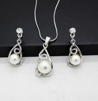 fashion wedding big pearl jewelry sets wholesale lover imitation pearl pendants and earrings sets for women free shipping