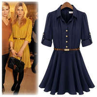 2014 Spring summer Women's Chiffon Dress with belt fashion slim solid color office lady dress Free shipping