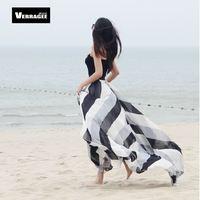 New 2014 spring summer women fashion black white striped floor-length chiffon long skirt plus size maxi casual skirts female xxl