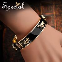 Special White Black Horse Golden Bangles Free Shipping Enamel Bracelets Adventure Of Daisy 2014030705