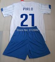 2014 balotelli PIRLO away white high quality soccer jerseys kits (shirts+shorts) + can custom names&numbers