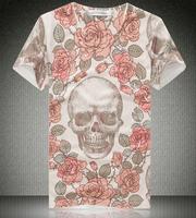mens t shirts fashion 2014 clothing Printing 3D Men Short Sleeve O Neck Skull Printed Cotton T Shirts camisa masculina
