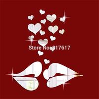 Romantic kiss lip 20PCS hearts crystal mirror wall stickers three-dimensional wedding room wall paper walls mirror Free shipping