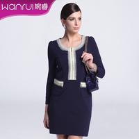 Women 2014 new spring fashion red black blue one-piece dress ol slim o-neck puff sleeve elegant clothing 5552