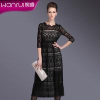 Spring 2014 new women twinset fashion spaghetti strap lace one-piece dress slim black full dress