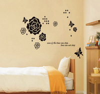 New 2014 Fashionn Wall Sticker Flower Rose Home Decor DIY Home Decoration Hot Sell Stickers Wholesale Free Shipping