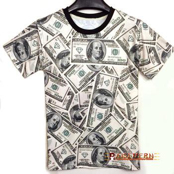 Funny! 2014 summer Fashion women/men T-shirt The money dollar print o ...
