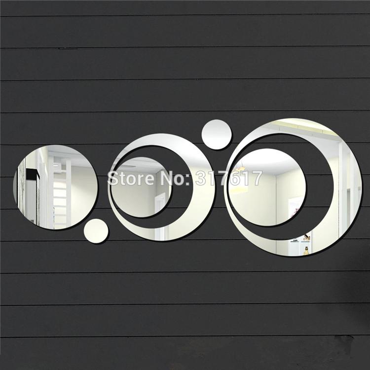Big size 7pcs Circles Round Wall Mirror Home Decoration diy Wall Sticker 3d Wall Mirrors(China (Mainland))