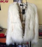 NBA272 Free Shipping Women Fashion Faux Fur Coat Fashion Women Overcoat Faux Fur Coat Nobel White Full Coat