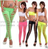 Free shipping 2014 Women's European Gym Yoga Super Sexy Candy Color Skiny Slim Hole  High Waist Leggings