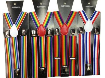 2014 Женщины/Men Braces Unisex Adjustable Clip-on Y-back Rainbow Разноцветный Striped ...