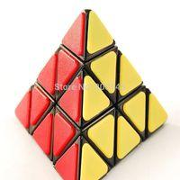 QJ Pyraminx Magic Cube with Plastic Tile - Black Speed Cube Puzzle
